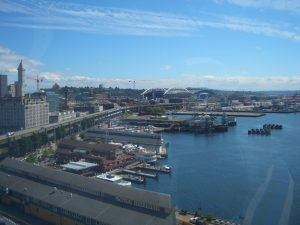Seattle waterfront, looking south toward stadiums